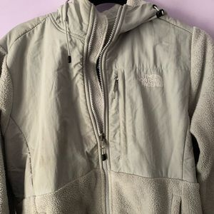 light grey north face jacket with hood